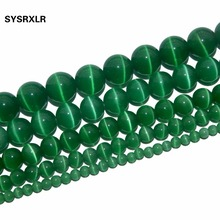 Free Shipping Natural Stone Green Opal Natural Cat Eye Beads Round Beads For Jewelry Making DIY Bracelet 4/6/8/10/12 MM Strand цены онлайн