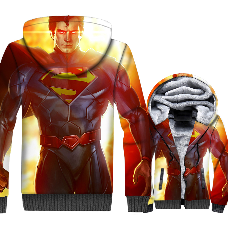 thick warm wool liner brand tracksuit funny 3D printing hooded hoodies Superman Super hero jackets coats men 2019 winter clothes