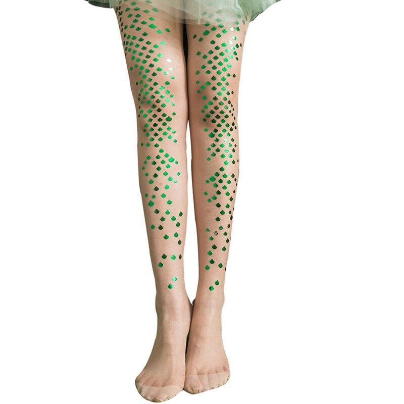 Womens Tights 15D Gold Sliver Shiny Mermaid Flakes Silk Stockings.Ladies Faux Tattoo Stockings Pantyhose Female Hosiery