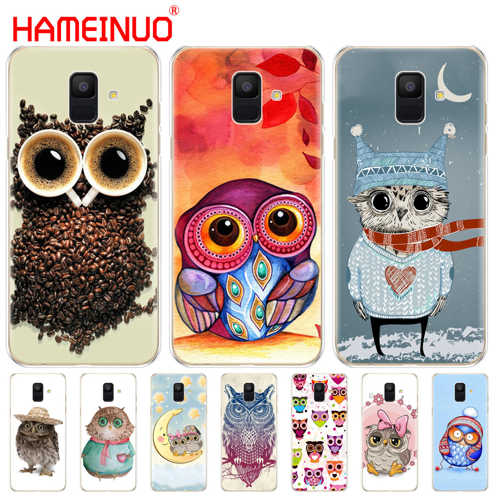 HAMEINUO colorful owls cover phone <font><b>case</b></font> for <font><b>Samsung</b></font> Galaxy J4 J6 J8 A9 A7 2018 A6 <font><b>A8</b></font> 2018 PLUS j7 <font><b>duo</b></font> image