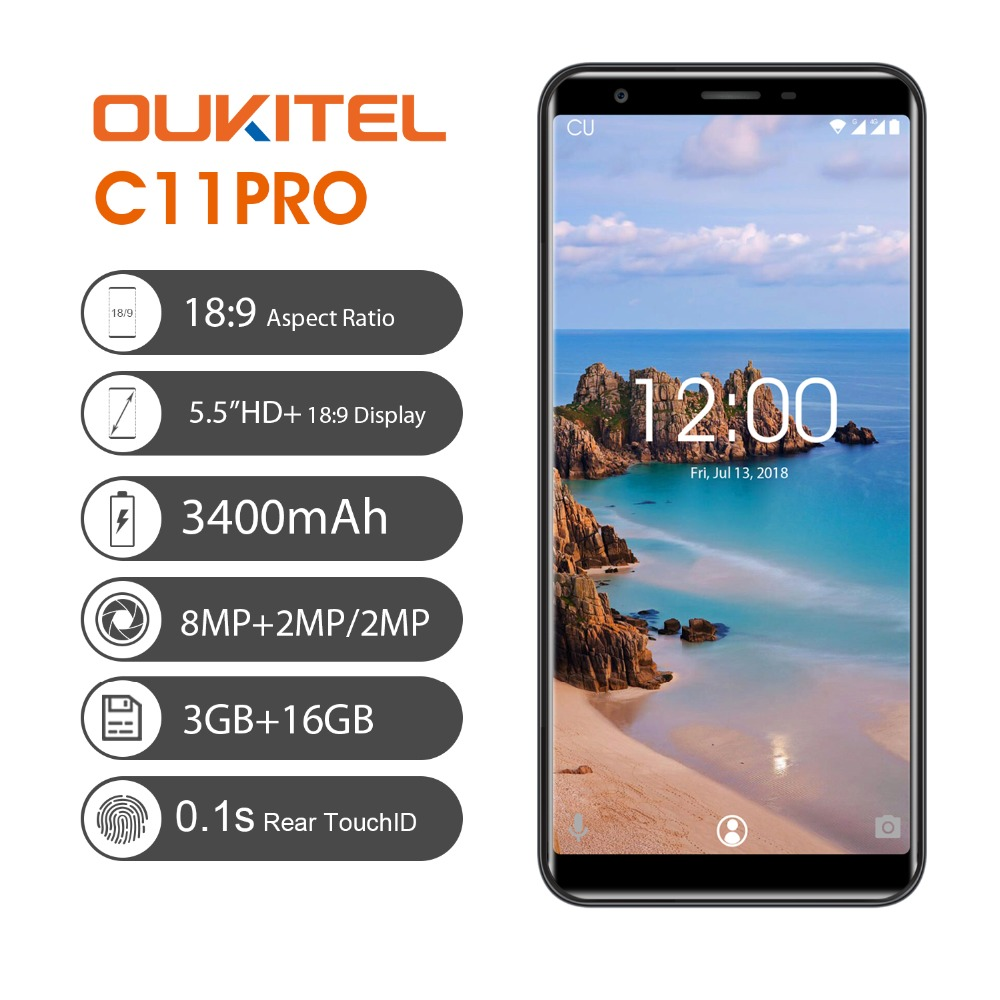 Oukitel C11 Pro 4G 5.5'' 18:9 Android 8.1 Smartphone MTK6739 Quad Core 3G RAM 16G ROM 8MP+2MP 3400mAh Fingerprint Mobile phone  - buy with discount