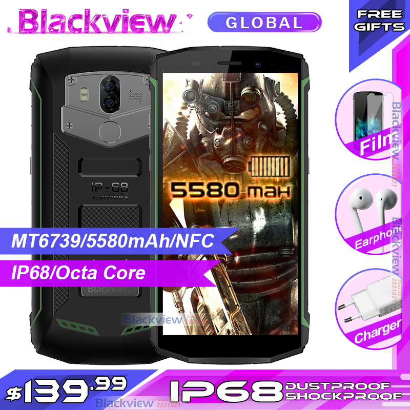 Fast shipping Blackview Bv5800 IP68 waterproof 5580mAh 4G 18 9 Smartphone 2GB 16GB 13MP NFC Touch