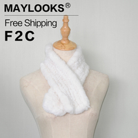 Maylooks 2017 New Fashion Rabbit Fur Scarves Shawl For Women Scarves Head Wrap With Fur Ball