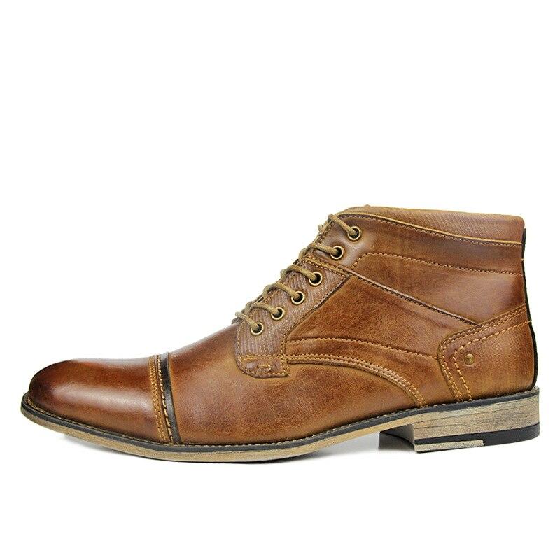 Grande taille hommes décontracté respirant bottines en plein air point orteil botte en cuir de vache chaussures à lacets botas hombre cuero sapatos-in Bottes de motocyclisme from Chaussures    3