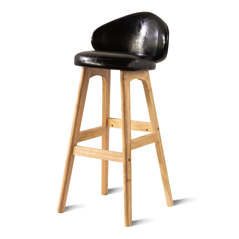 Modern Simple PU Bar Chair Household Multi-function Balcony High Stool With Backrest Wooden Stable Safe Front Desk Bar Stool