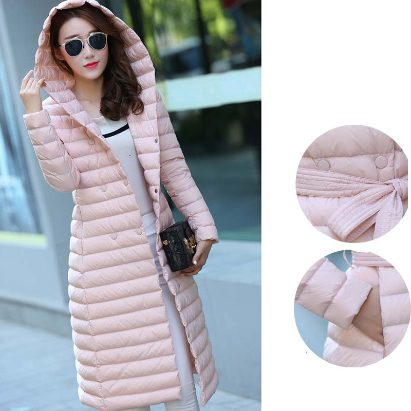 2017 Spring Padded Hooded Long Jacket Woman White Duck   Down   Female Overcoat Ultra Light Slim Solid Jackets   Coat   Portable Parkas