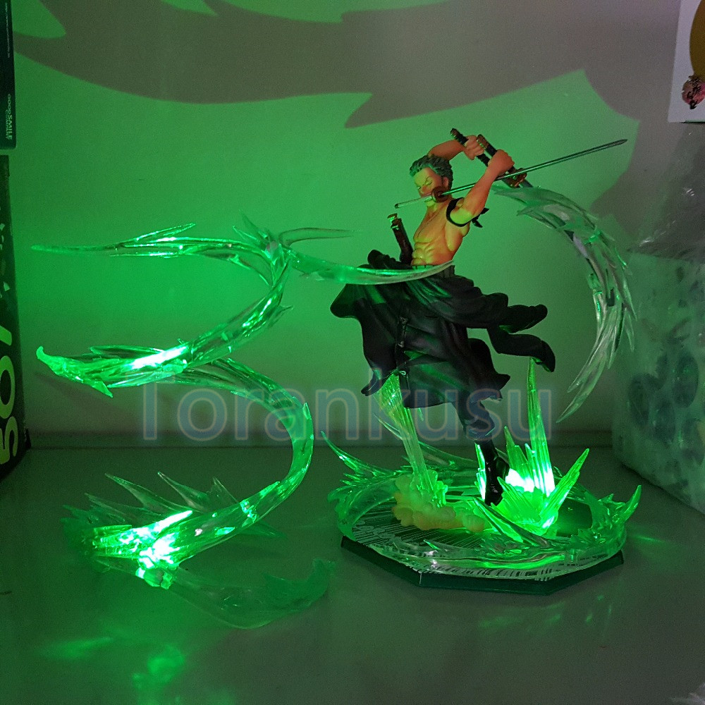 One Piece Action Figure Roronoa Zoro Battle Ver. With LED Effect DIY Display Toy Anime One-Piece Figure Zoro DIY87 brand new portrait of pirates one piece roronoa zoro 23cm pvc cool cartoon action figure model toy for gift kids free shipping