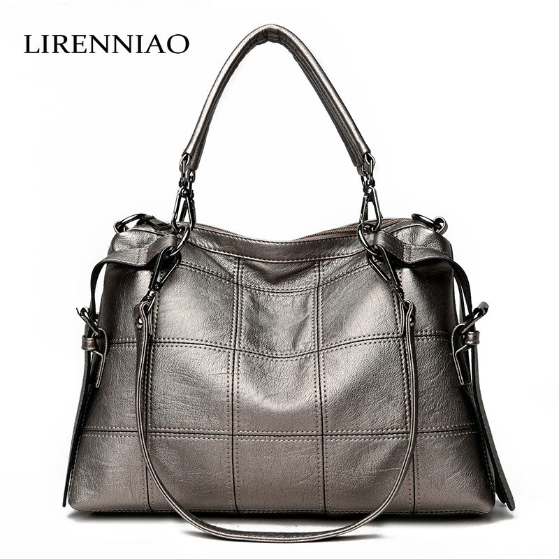 LIRENNIAO Female Patchwork Leather Handbags Large Capacity Women Messenger Bags Real Leather Bags Ladies Blosas