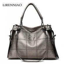 LIRENNIAO Weibliche Patchwork Leder Handtaschen Große Kapazität Frauen Messenger Bags Real Ledertaschen Damen Blosas