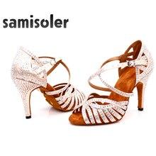 New Brand Latin Dance Shoes Women Salsa Bronze Silk Satin Dance Shoes Girls Ladys Ballroom Dance Shoes Cuban Heel 10cm цена в Москве и Питере