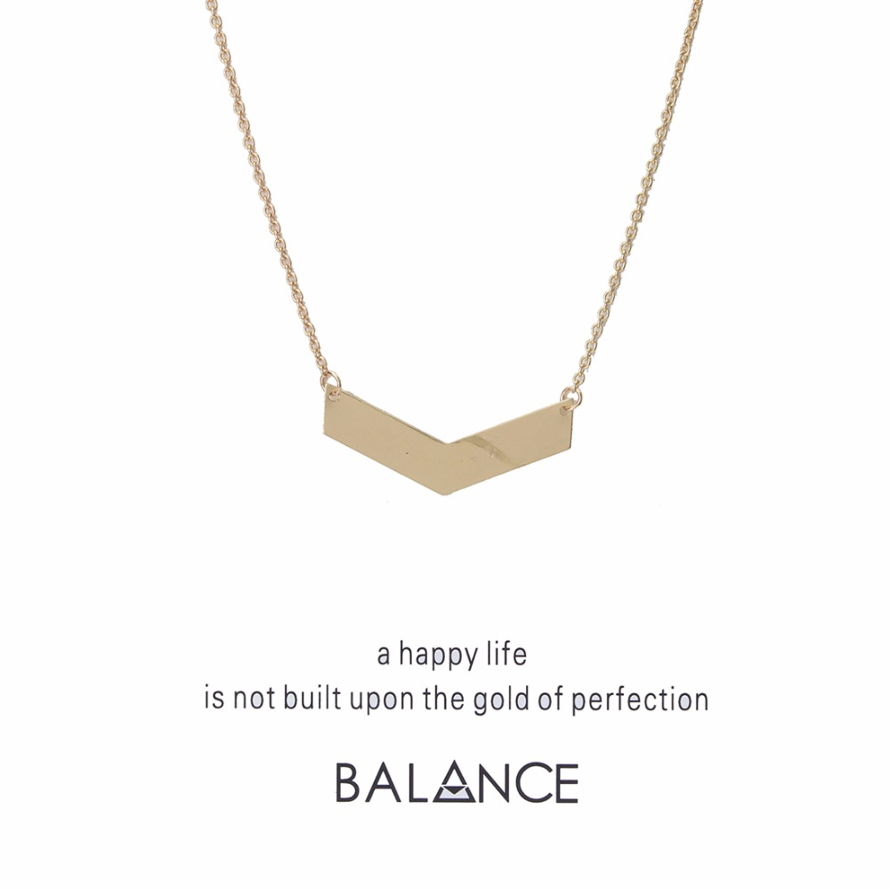 1pc Simple Geometric Shape Balance Wish Card Choker Collier Necklaces Links Chains Gold Plate For Women Statement Jewelry Gift image