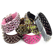 Фотография Punk Style Spiked Dog Collar Round Head Rivet Studded Dog Collars for Big Dogs PU Leather Pet Roducts with 6 Color