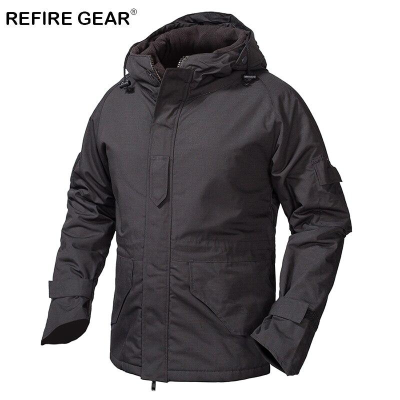 ReFire Gear Winter Outdoor Fleece Tactical Windbreaker Jacket Men Camouflage Waterproof Military Field Jacket Hoodie Warm