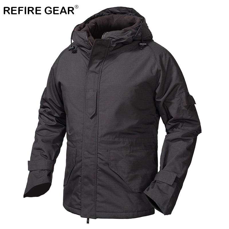 ReFire Gear Winter Outdoor Fleece Tactical Windbreaker Jacket Men Camouflage Waterproof Military Field Jacket Hoodie Warm Coats fleece camouflage pullover hoodie