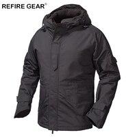 ReFire Gear Winter Outdoor Fleece Tactical Windbreaker Jacket Men Camouflage Waterproof Military Field Jacket Hoodie Warm Coats