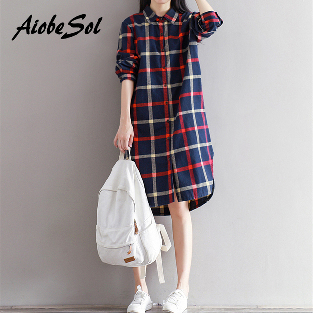 7d48efee6aa US $20.4 20% OFF|Plaid Shirt Dress Spring Autumn 2017 Loose Preppy Long  Sleeve Single breasted Cotton Bottom Dress Mori Girl Vestidos-in Dresses  from ...