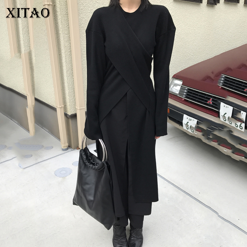 [XITAO] Contrast Color False Two Pieces Women Fashion New Solid Color   Wide     Leg     Pants   Female Loose Ankle-length   Pants   DLL1544