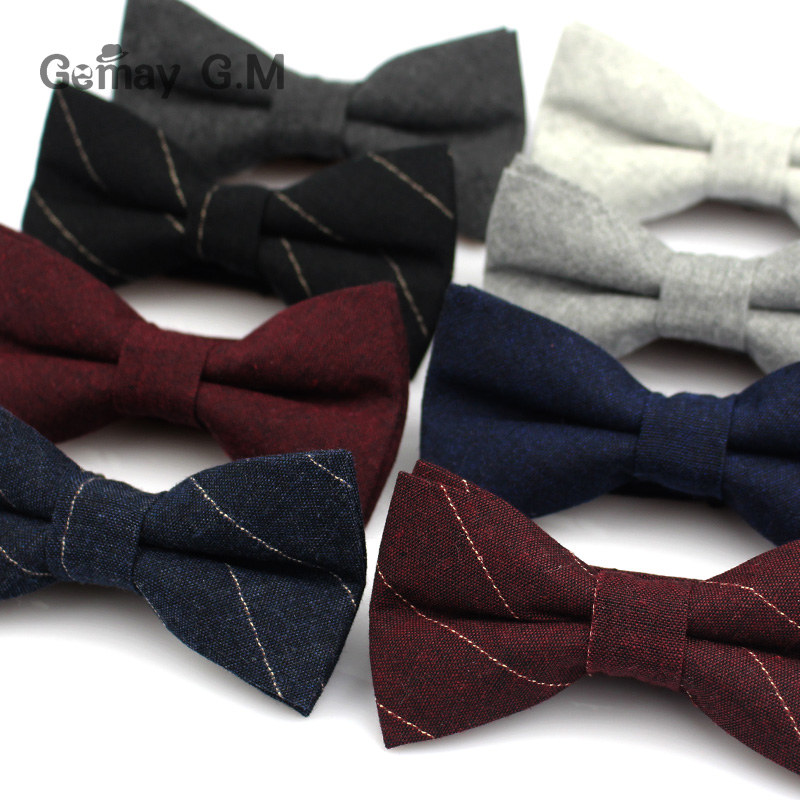 Fashion Suits Cotton Bowtie For Wedding Casual Striped Bow Tie For Men Neck Tie Gravatas Slim Cravats Bowties For Business