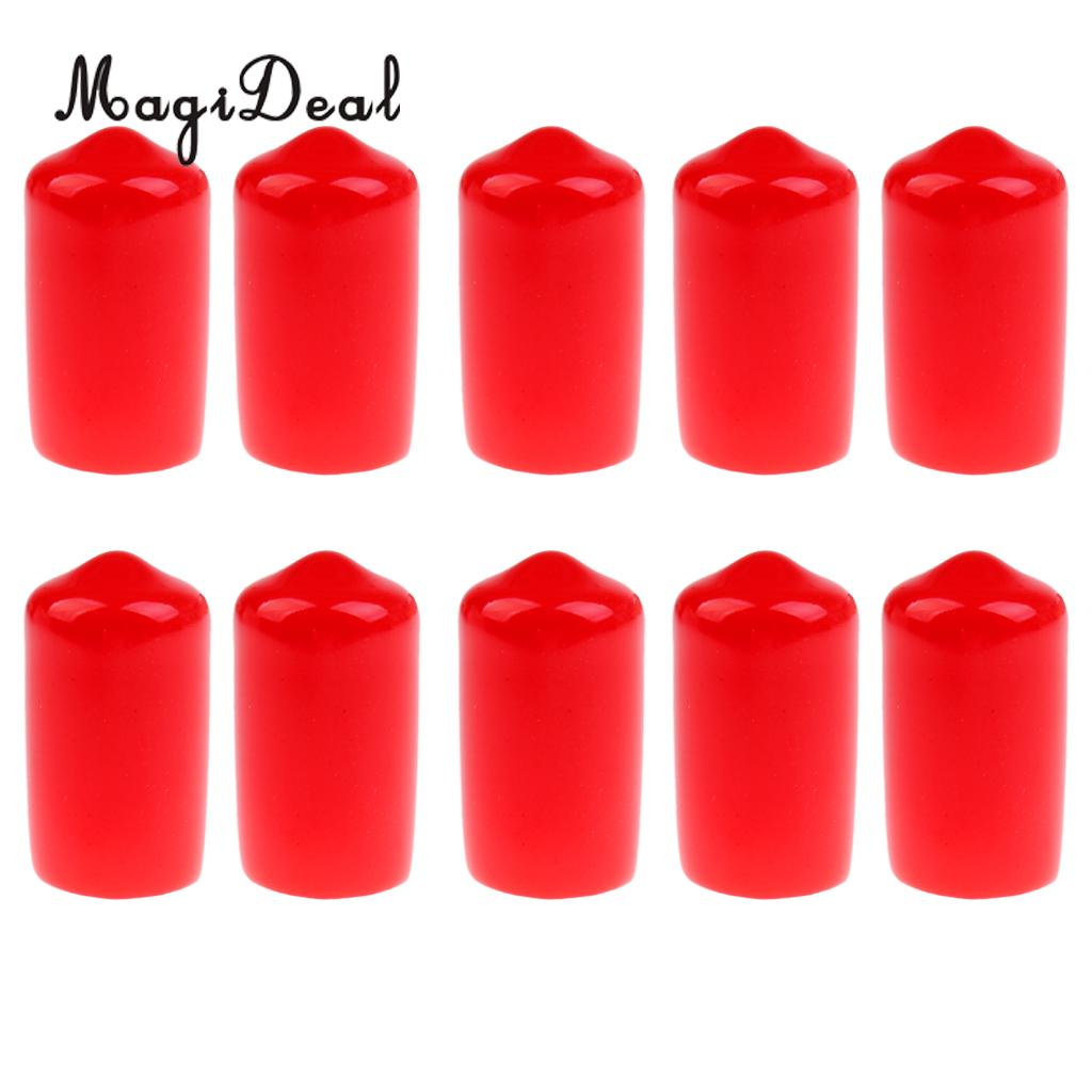 Red 10Pcs Pool Cue Tip Case Rubber Protective Cover