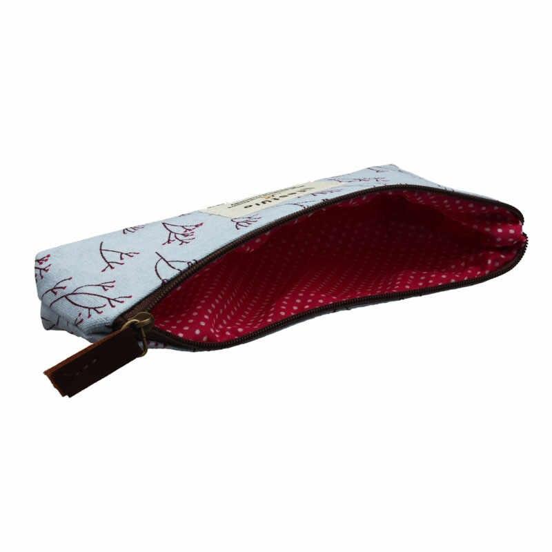 3 pièces Vintage Floral crayon stylo maquillage rangement sacoche pochette étui sac à main une toile stylo sac avec pastorale fragments crayon sac A30313