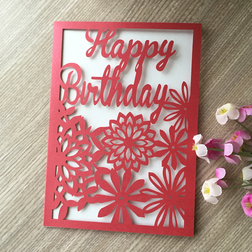 50pcslot laser cut glossy paper birthday thank you cards postcard 50pcslot laser cut glossy paper birthday thank you cards postcard greeting card happy birthday blessing gift card in cards invitations from home garden m4hsunfo