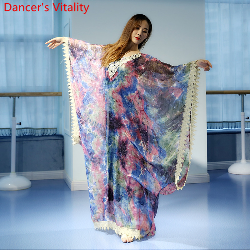 2018New Professional Long robe Belly Dance One piece dress robe for women female practical dress wear