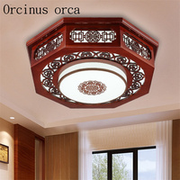 Modern Chinese pine solid wood ceiling lamp living room dining room bedroom classical sheepskin ceiling lamp free shipping