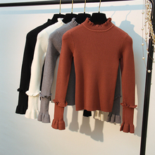 HLBCBG Thick Women Autumn Winter Warm Sweater Knitted Flare Sleeve Casual Pullover Fashion Female Jumper