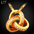U7 Fashion Celtic Jewelry Zirconia Triquetra Trendy Gold Plated Crystal Trinity Knot Necklace Pendant For Women Wholesale P666