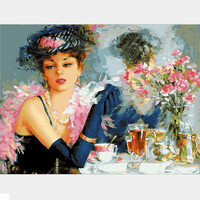 Frameless Pictures Painting By Numbers DIY Digital Oil Painting On Canvas Home Decoration 40x50cm Flower And