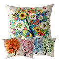 New Qualified 2016 New Flower Tree Pillow Case Sofa Waist Throw Cushion Cover Home Decor  Levert Dropship dig661