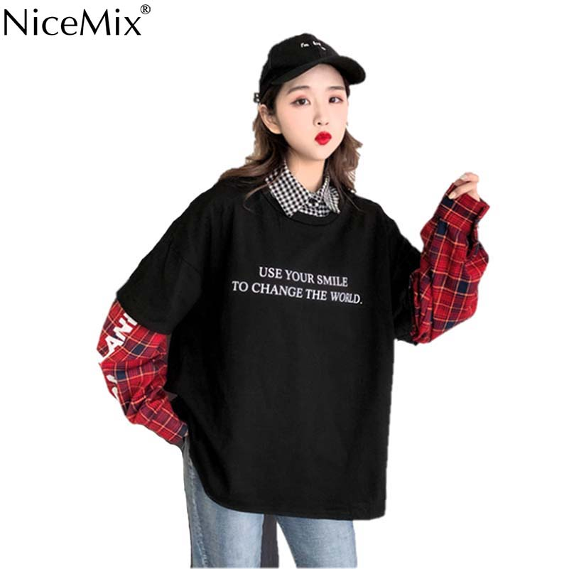 NiceMix Harajuku T-shirt Women Tops Fake 2 Pieces TShirt Patchwork Plaid Long Sleeve Shirt Streetwear Camiseta Feminina 2019