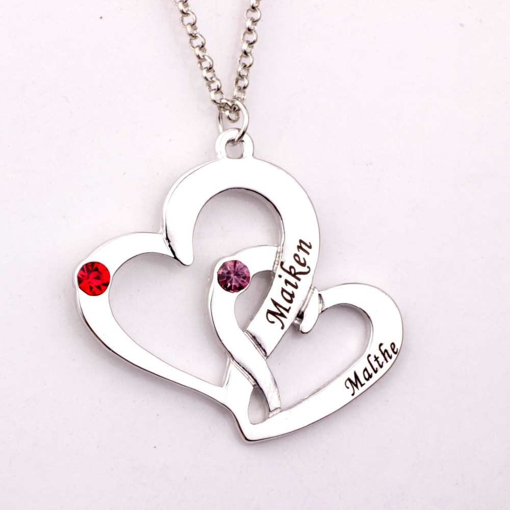 Engraved Two Heart Necklace with Birthstones 2018 New Arrival Long ...