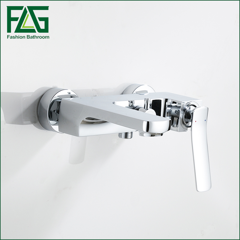 NEW Shower Faucet Set Bathroom water Faucet Chrome Finish Mixer Tap Wall Mounted in wall bath