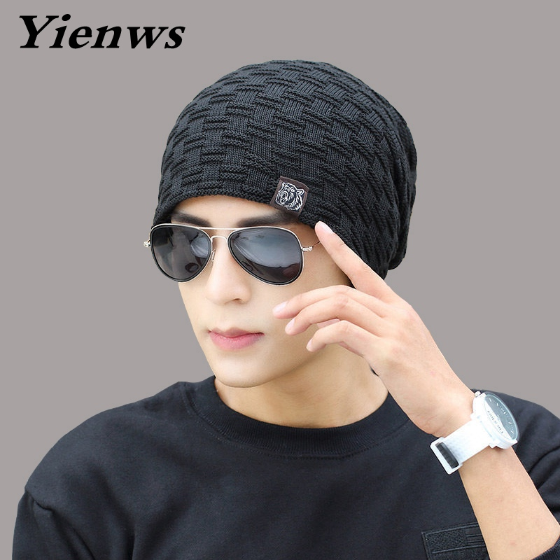 Yienws 2017 New Autumn Winter Hats For Men Beanie Stocking Hat Male Warmer Knitted Hat Skullies Beanies Bonnet Cuff Caps YIC574 aetrue winter knitted hat beanie men scarf skullies beanies winter hats for women men caps gorras bonnet mask brand hats 2018