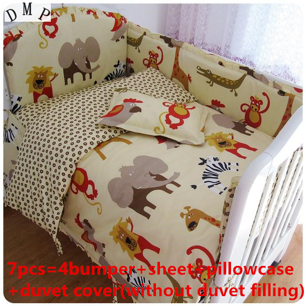 Discount! 6/7pcs 100% Cotton Character Cot Baby Crib Bedding Set Bed Linen Baby Bedclothes ,120*60/120*70cm