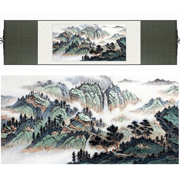 Chinese Silk Watercolor Waterfall Mountain Pine Tree River Landscape Feng Shui canvas wall picture damask framed scroll painting