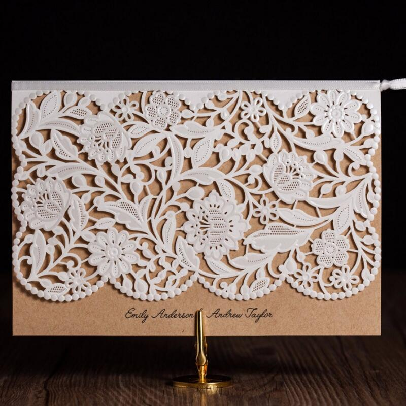 50pcs/pack Laser Cut Wedding Invitations Rustic Vintage Floral Birthday Cards Engagement Marriage Party Invites Favors Supplies 50pcs pack laser cut wedding invitations cards elegant flowers free printing birthday party invitation card casamento