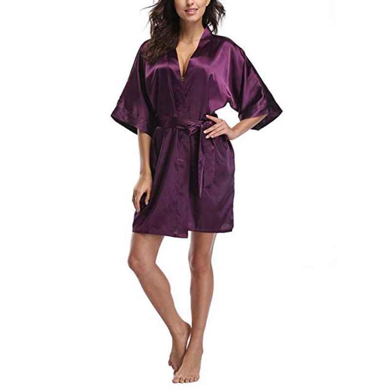 レディースプラスサイズショート着物カーディガンフェイクシルク 3/4 袖 V ネックの夜ローブグリッター固体色 NightgownSleepwear とサッシ