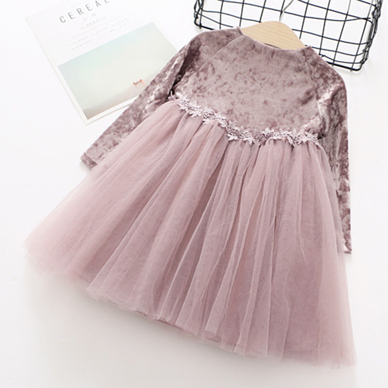 spring kids dresses for girls long sleeve splice ball gowns for children lace princess dresses for little girls voile clothes