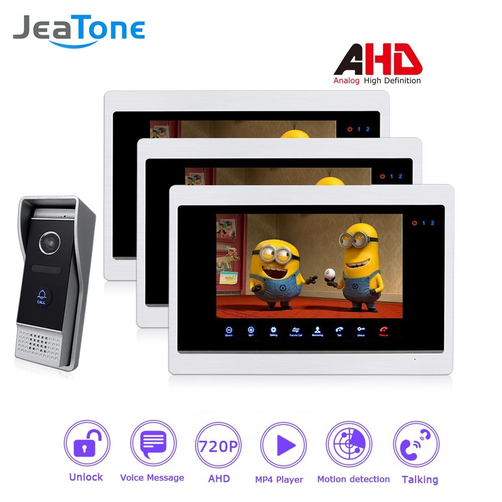 AHD 720P 4 Wired 7'' Video Door Phone Intercom Door Bell Door Speaker Security Motion Detection/Touch Button/MP4 Player/1 To 3