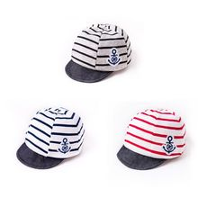 Summer Cotton Comfortable Baby Hats Cute Casual Striped Anchor Soft Eaves Baseball Cap Baby Boy Beret Baby Girls Infant Hats