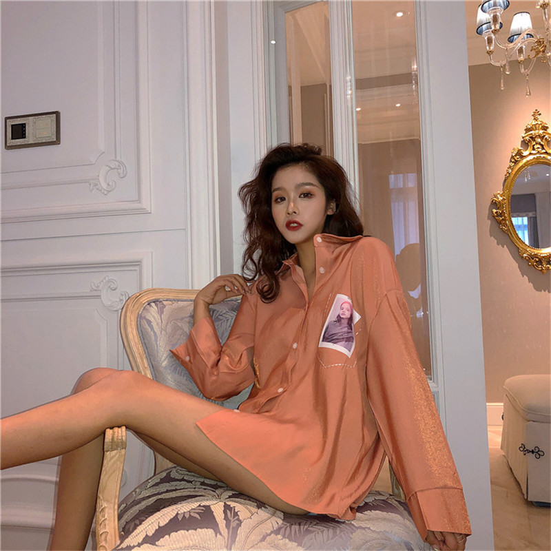 2019 Fashion Casual Loose luster   Blouse     Shirt   Long Sleeve Button Office Lady   Shirt   Elegant Tops