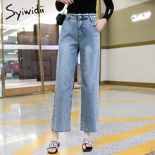 High waist jeans woman Plus size straight denim pant Panelled Washed Bleached Tassel