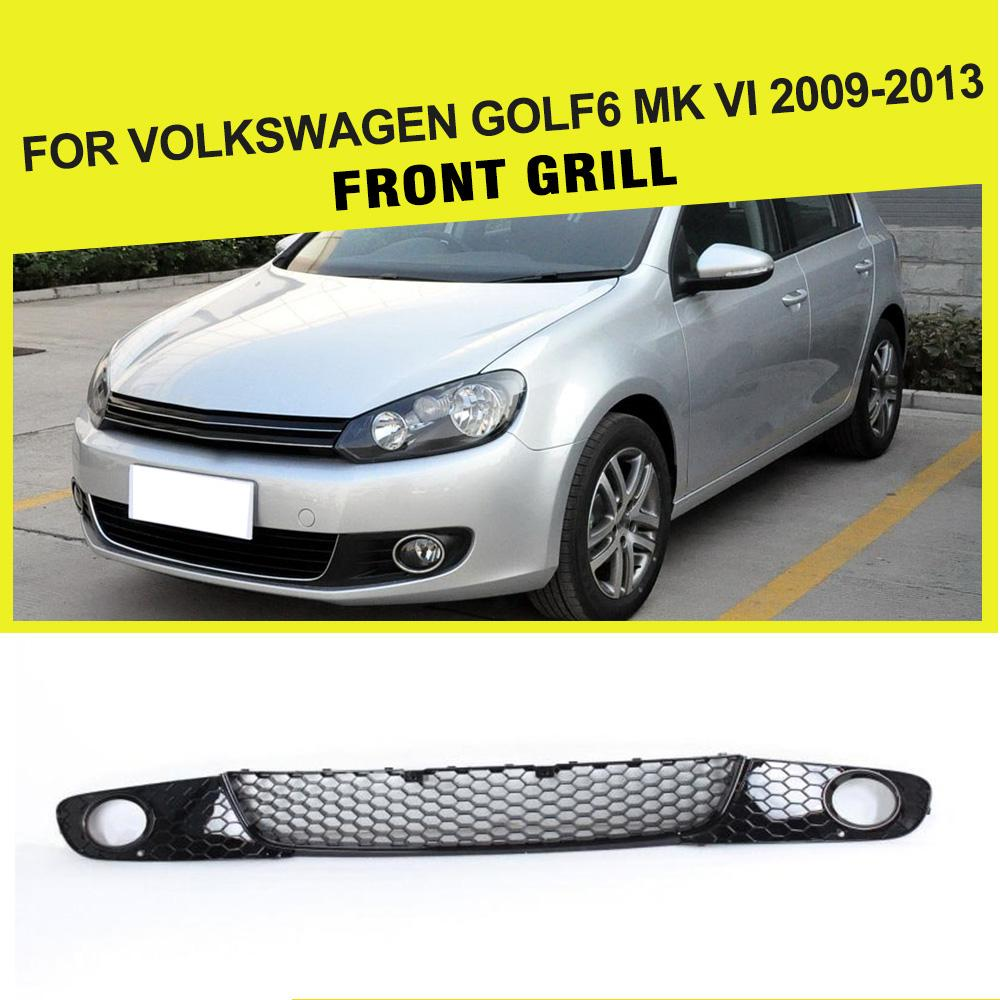 3PCS Front Bumper under Grille Fog Light Mesh Grill Covers For Volkswagen VW Golf 6 VI MK6 standard Bumper 2010-2013 ABS Black hot sale abs chromed front behind fog lamp cover 2pcs set car accessories for volkswagen vw tiguan 2010 2011 2012 2013