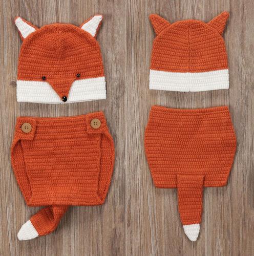 Photography Newborn Baby Boy Girl Fox Ear Hat Bottom Photo Props Woolen Outfits Set
