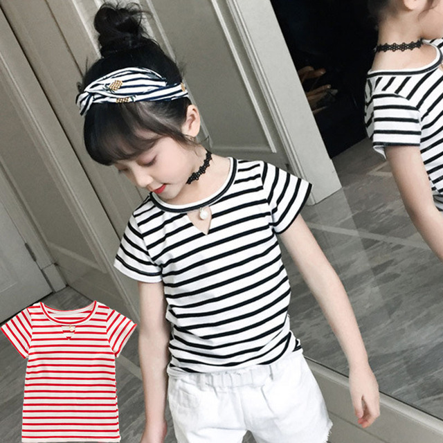 8d43f7180b3d t shirts kids 2018 summer spring red black striped short sleeves t ...