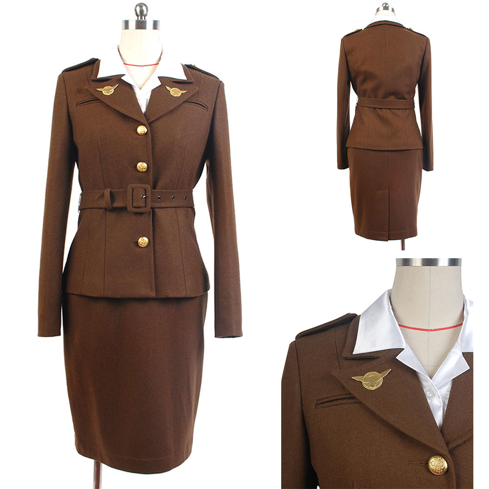 Halloween Captain America Costume The First Avenger Agent Peggy Carter Cosplay Costume Unifrom Full Set