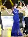 Нэнси Ajram Королевский Синий Знаменитости Платья 2017 Новый Сексуальный Спинки Холтер Блестки Длинное Вечернее Платье Арабский Дубай Свадебные Платья