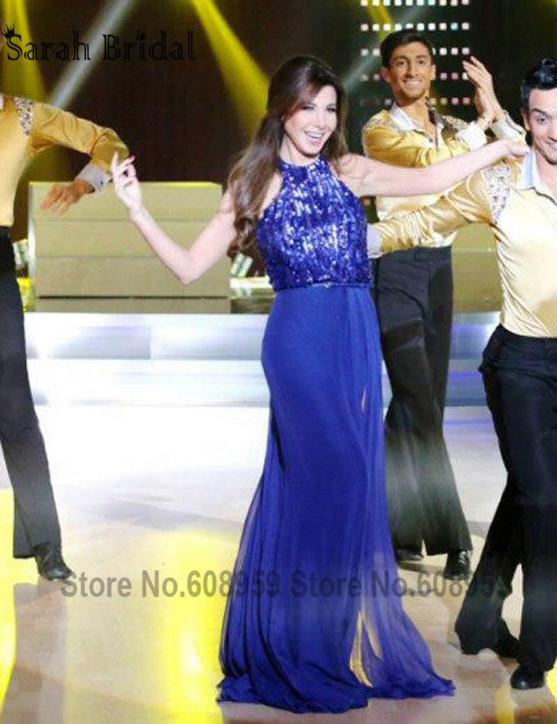 Nancy Ajram Royal Bleu Celebrity Robes 2017 Nouveau Sexy Dos Nu Halter  Paillettes Longue Robe De